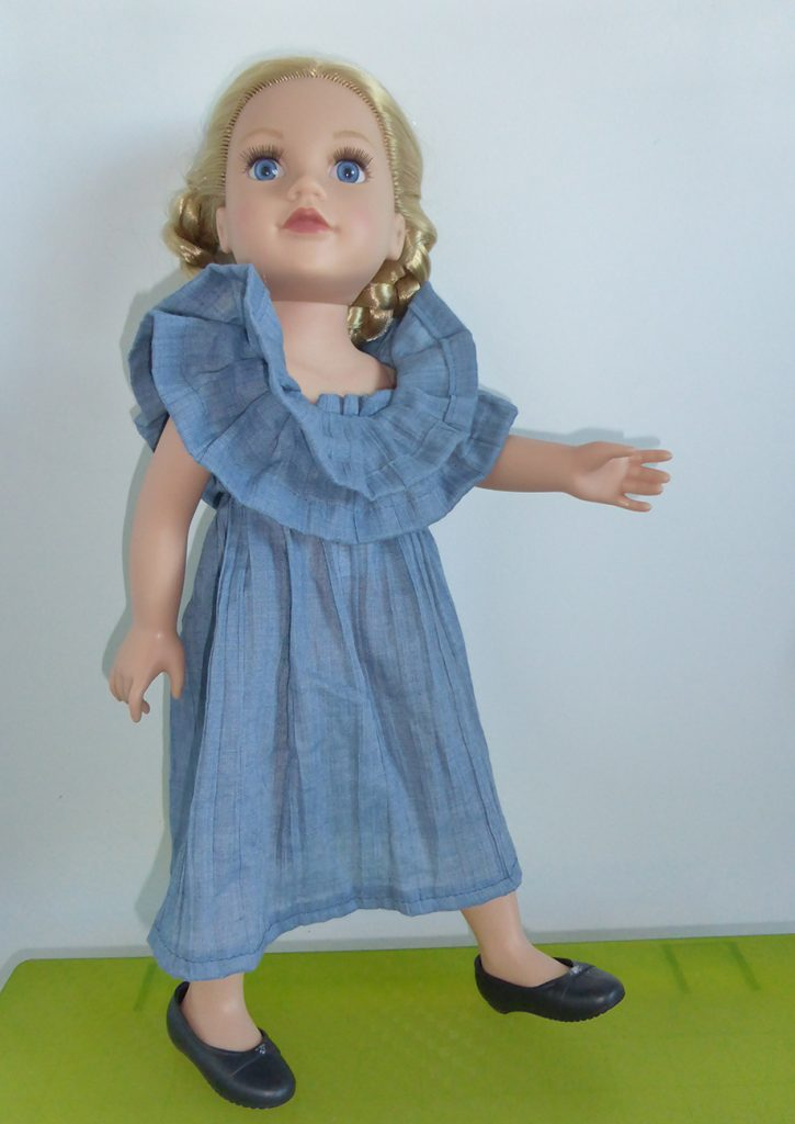 Light blue dress with fantasy col
